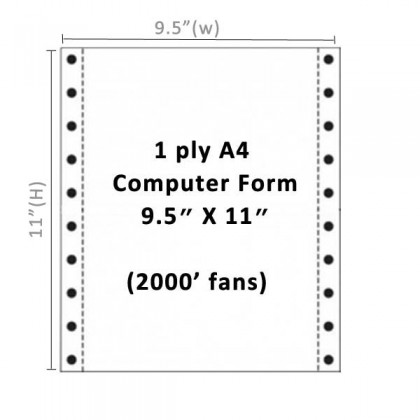 Twin Star A4 Computer Form 1 ply
